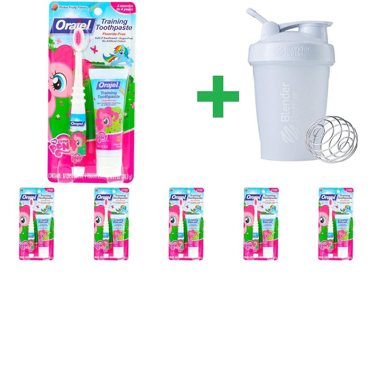 Orajel, My Little Pony Training Toothpaste with Toothbrush, Flouride Free, Pinkie Fruity Flavor, 3 Months to 4 Years, 1 oz (28.3 g)(6 Packs)+ Assorted Sundesa, BlenderBottle, Classic With Loop, 20 oz by OrajelToothbrush