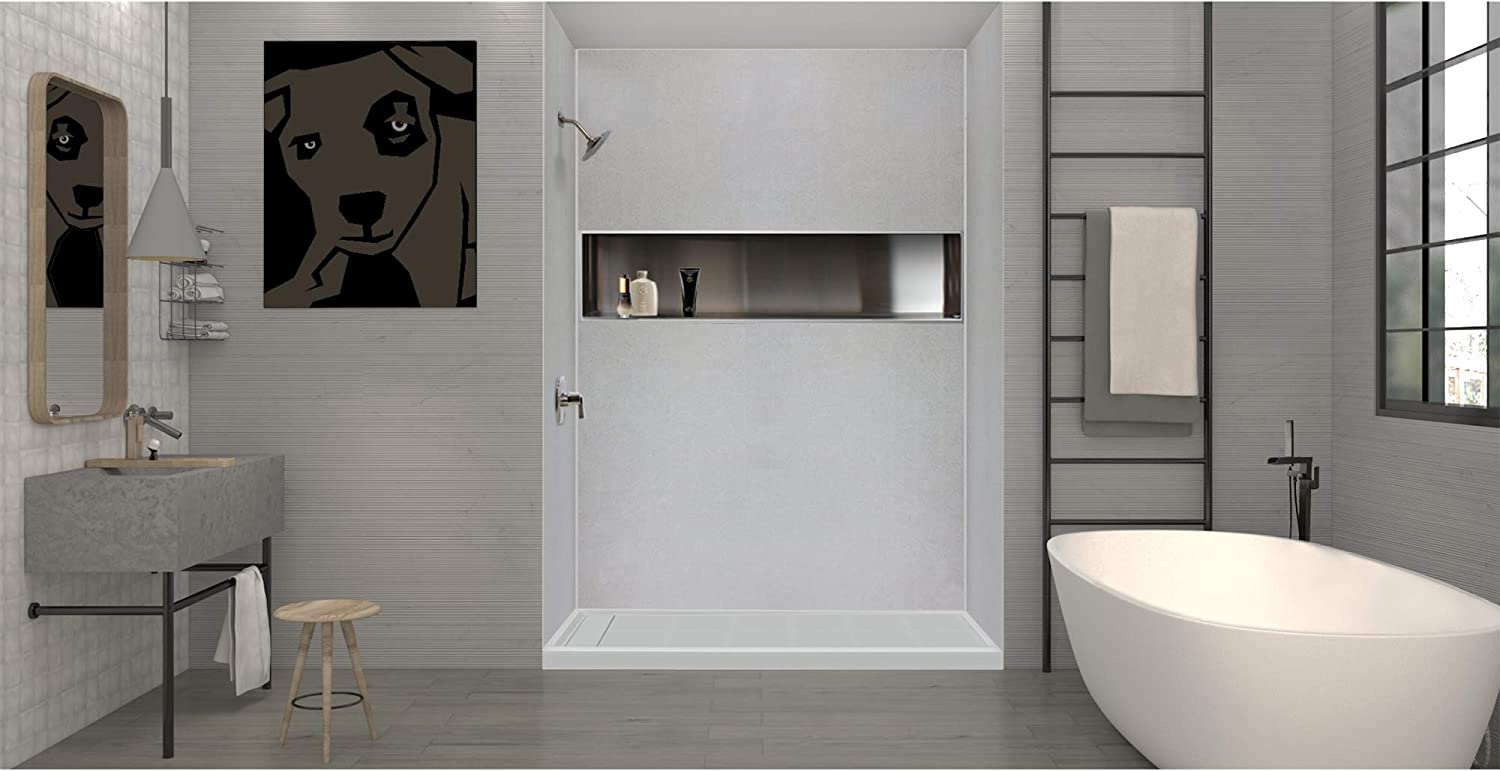 Transolid FL6032R-38 Linear 60-in W x 32-in L Rectangular Alcove Concealed End Shower Base with Right Hand Drain Biscuit