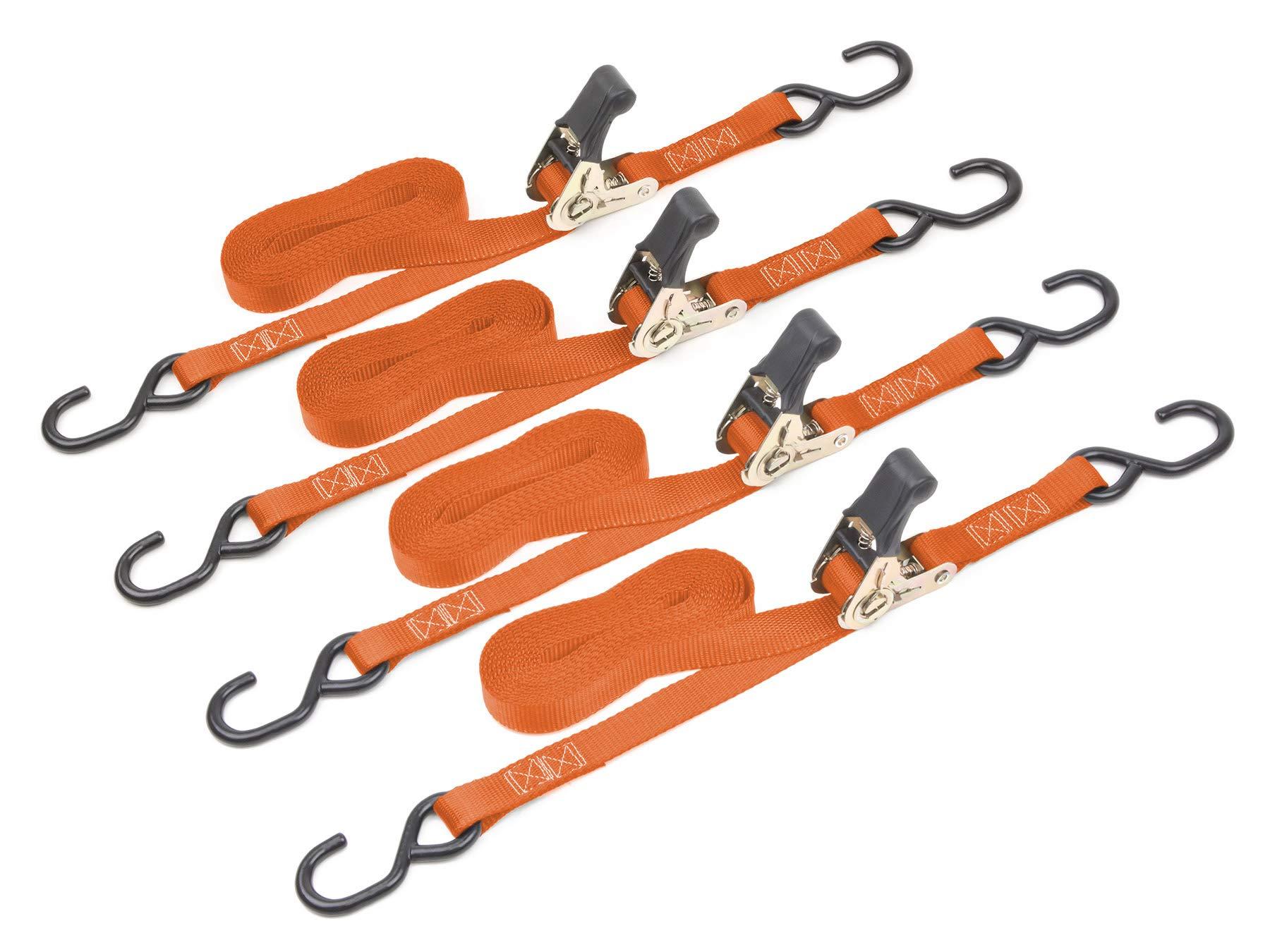 Powertye Mfg 1'' x 15ft Easy-Grip Ratchet Tie-Downs with 4in S-Hooks, Orange, 4-Pack by Powertye