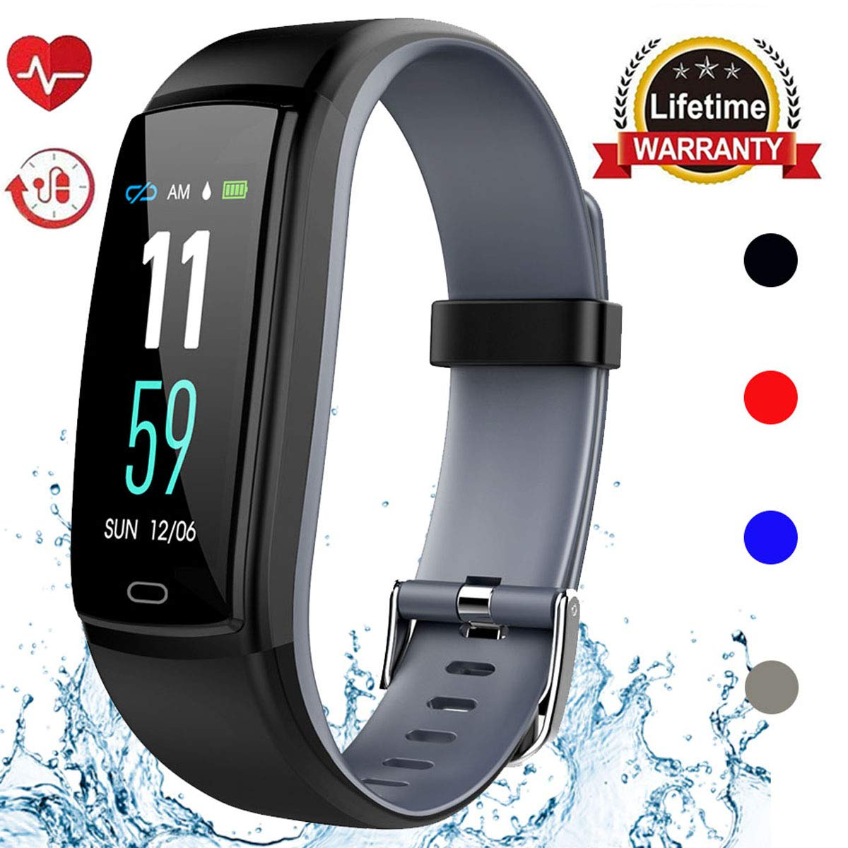 Mgaolo Fitness Tracker HR, Activity Tracker Waterproof Smart Watch Wristband with Heart Rate Blood Pressure Pedometer for Android and iPhone (Gray) by Mgaolo (Image #1)