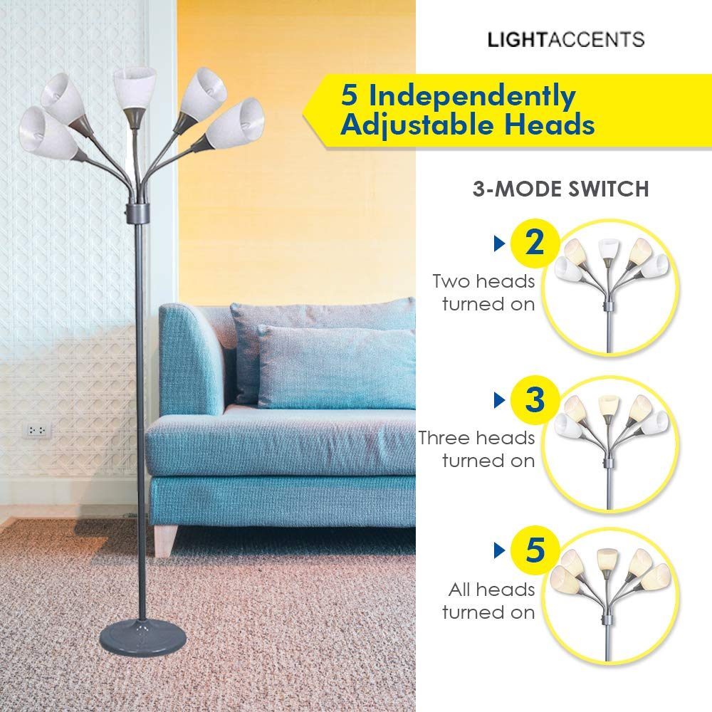 Light Accents Medusa Grey Floor Lamp with Acrylic Shades 2-Pack Multicolored