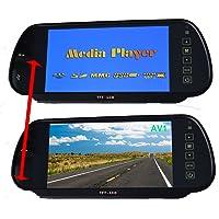 Auto 7 Pollici Monitor, Cocar 12V-24V Camion Specchietto Retrovisore In-Mirror LCD Schermo con MP5 Scheda SD USB Play, Audio FM di Trasmissione, 2 Canali RCA di Ingressi Video per Retrovisione DVD