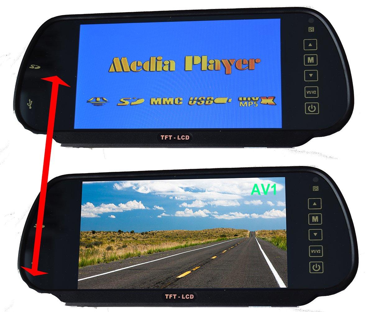 + Wireless Plate Mount Backup Camera IR Night Vision Parking Kit MP5 Player SD Card, USB Stick , FM Transmitter, 2 RCA Video Inputs E-Kylin Car 7 inch HD Rear View Mirror Monitor