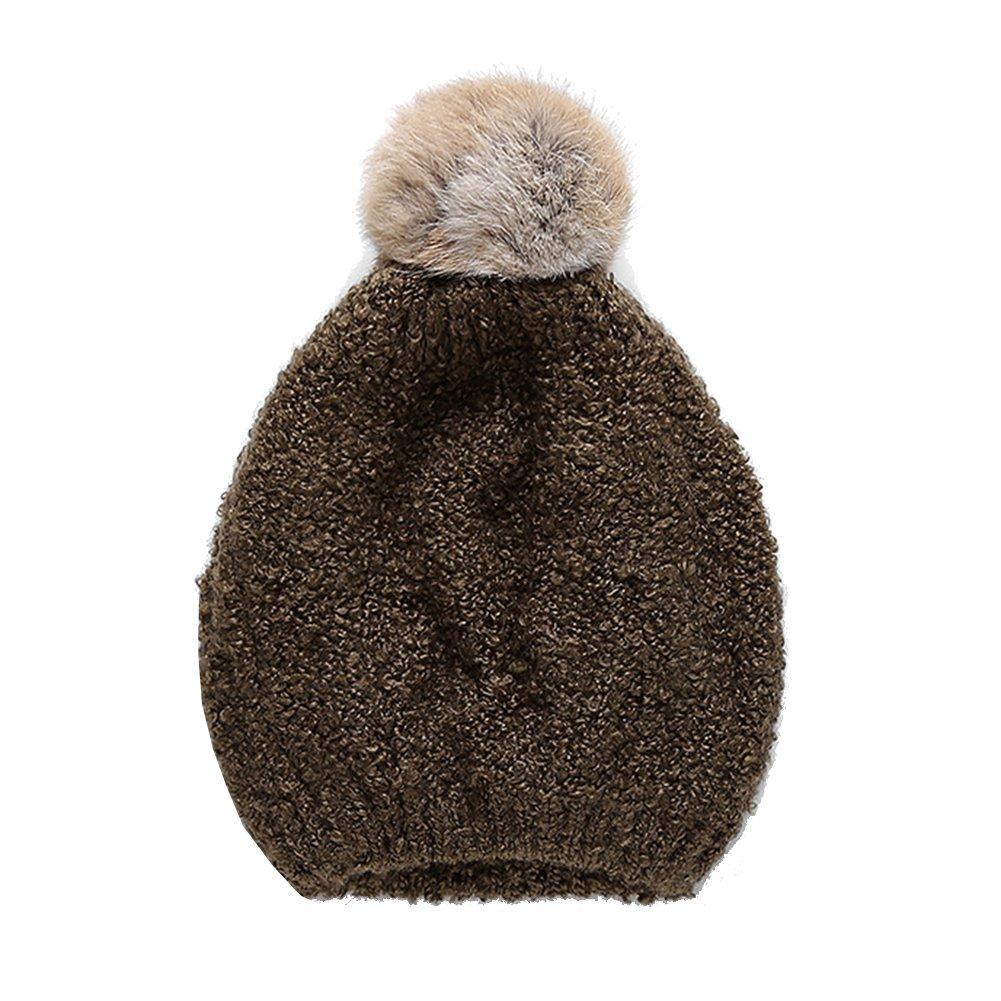 63206e2f3 Female Autumn and Winter Fashion Removable Rabbit Fur Ball Bini Knit ...