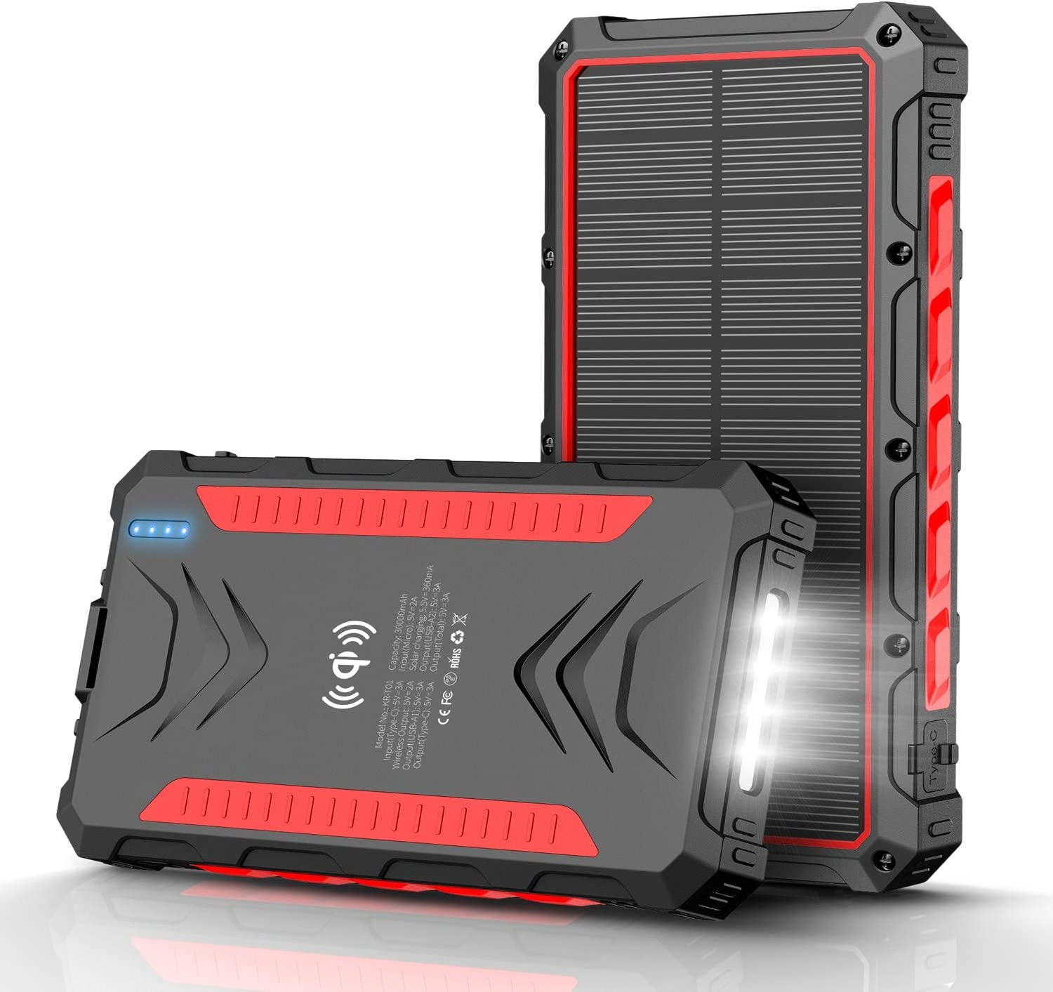 Solar Power Bank 30000mAh, Solar Charger, Qi Wireless Charger