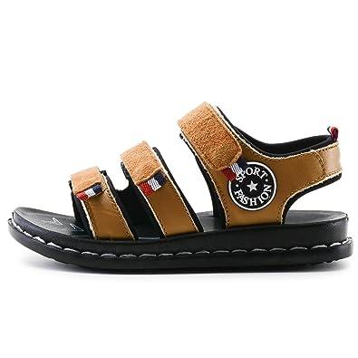 Jungen Sandalen Strand Anti-Rutsch Atmungsaktiv Abriebfest Ultraleicht Weiches Leder Klettverschluss Freizeit Schick Sommer Schuhe DunkelBraun 27 5tO0TKXw