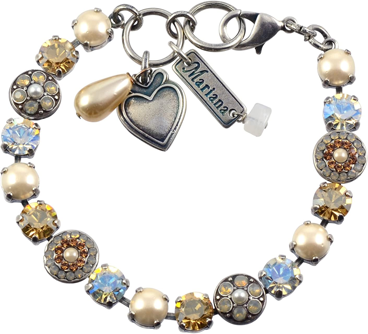 """Mariana Bracelet, Champagne and Caviar Silver Plated Crystal, 8"""""""