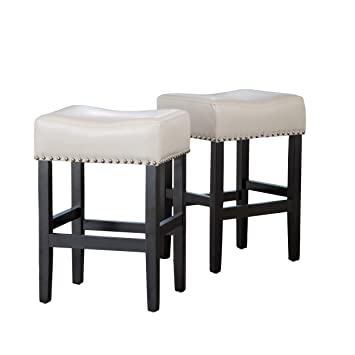 Miraculous Christopher Knight Home Chantal Backless Ivory Leather Counter Stools Wchrome Nailheads 18 00W X 15 50 D X 26 00 H Cjindustries Chair Design For Home Cjindustriesco