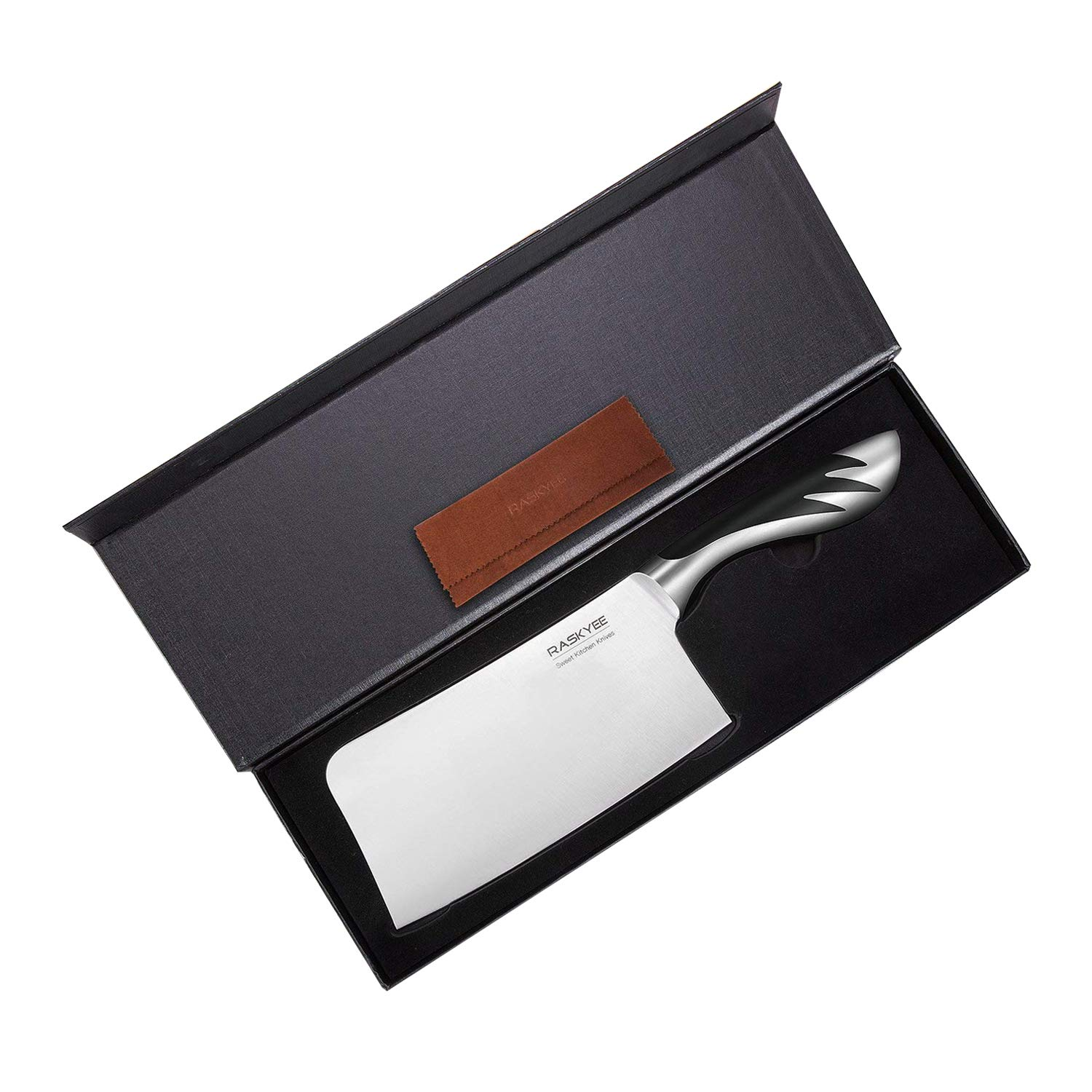 Butcher Knife,Raskyee 7 inch German Stainless Steel Cleaver Kitchen Meat Knife with Multipurpose Use for Home Kitchen and Restaurant