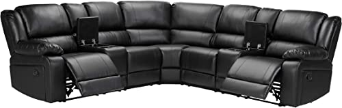Symmetrical Reclining Sectional Sofa Black