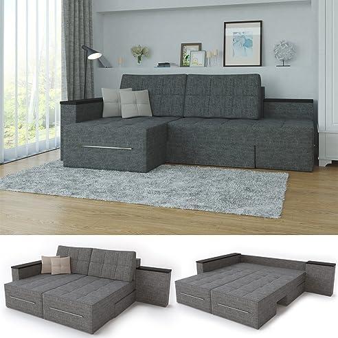 xxl ecksofa mit schlaffunktion 240 x 160 cm grau eckcouch relax sofa couch schlafsofa luxus - Sofacouch Mit Schlafcouch