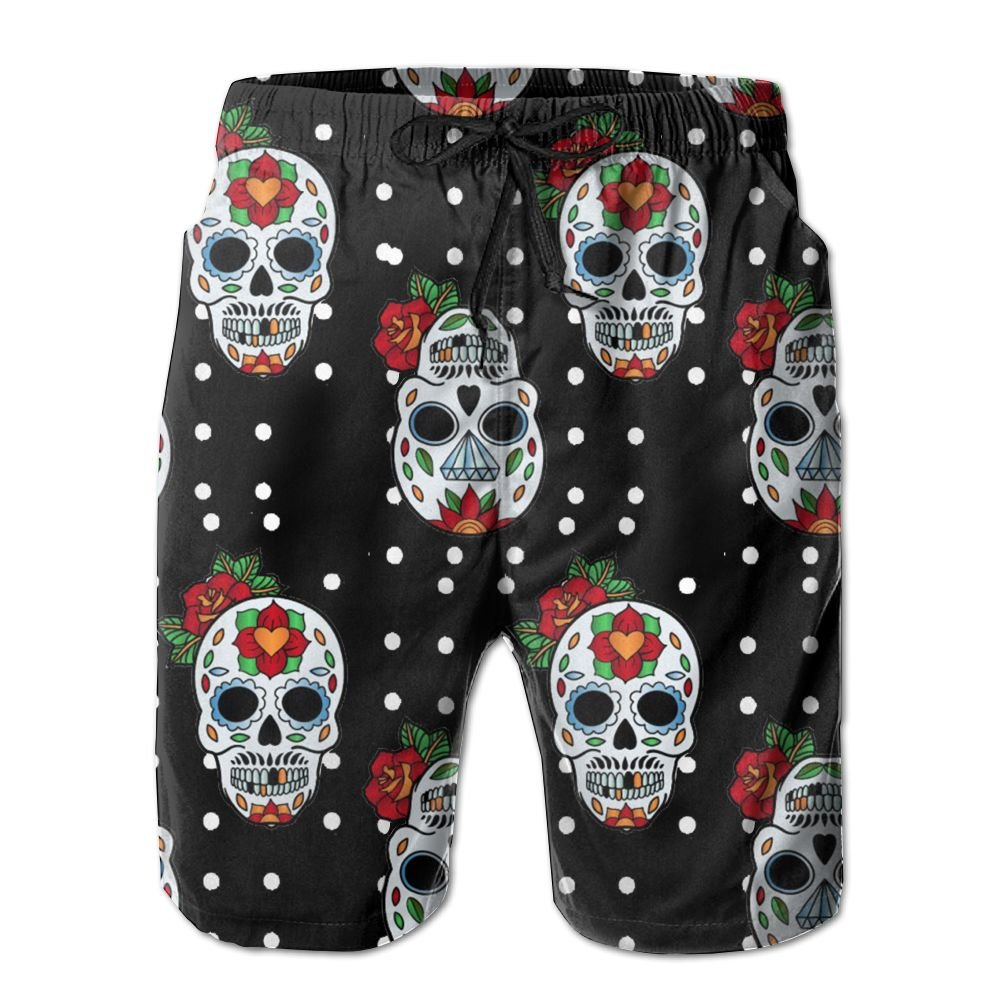 Sugar Skulls Flowers Mens Basic Watershorts XXL With Pocket