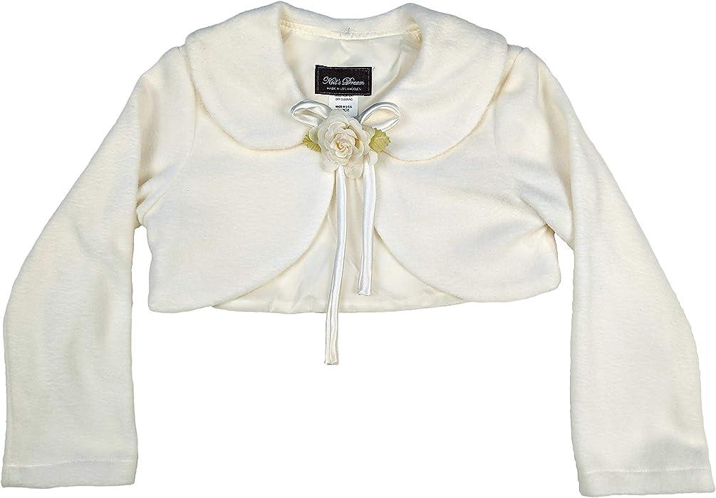 4ffa5b6aa2ba1 Amazon.com: Cozy Long Sleeve Bolero Jacket Cover - Ivory Girl 1/2 ...