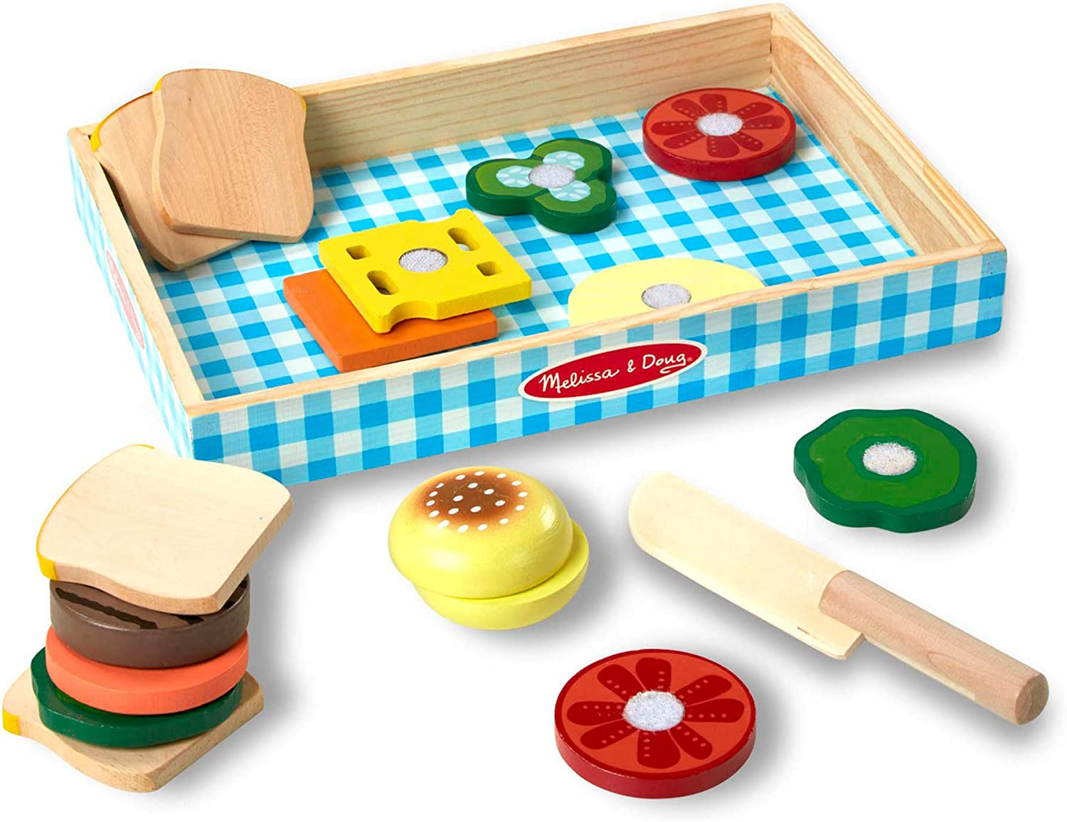 Melissa Doug Sandwich Making Set Wooden Play Food Wooden Storage Tray Materials 16 Pieces Great Gift For Girls And Boys Best For 3 4 And 5