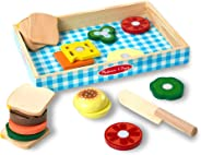 Melissa & Doug Sandwich-Making Set (Wooden Play Food, Wooden Storage Tray, Materials, 16 Pieces, Great Gift for Girls and Boy