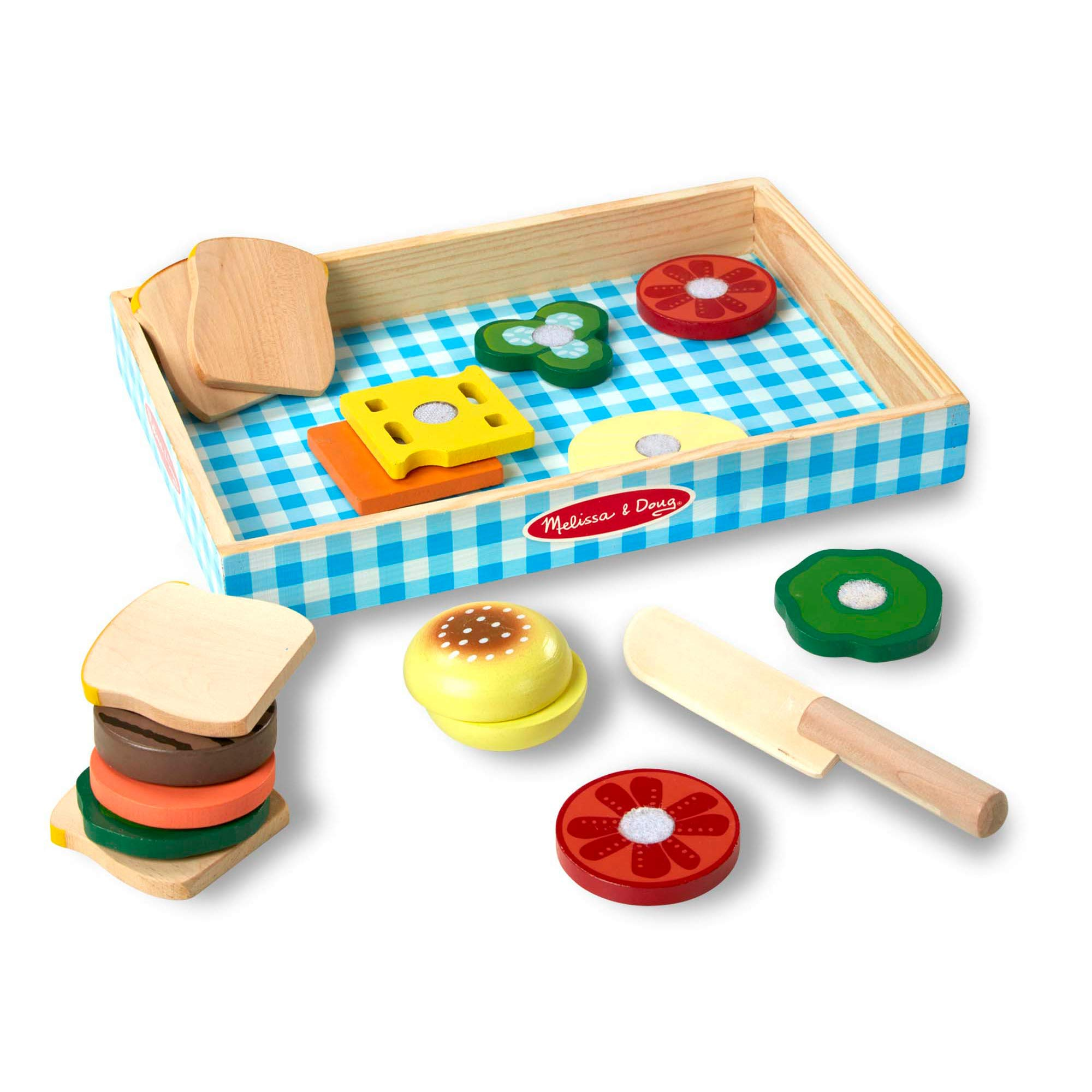 Melissa & Doug Sandwich-Making Set (Wooden Play Food, Wooden Storage Tray, Materials, 16 Pieces, Great Gift for Girls and Boys - Best for 3, 4, and 5 Year Olds) by Melissa & Doug