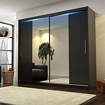 reputable site 92193 aec25 CHECO HOME AND GARDEN BIG STYLISH SLIDING WARDROBE 204cm !! BIG MIRRORS !!  LED !! MANY COLOURS !! (Black, With Led)