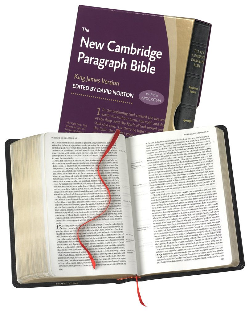 New Cambridge Paragraph Bible with Apocrypha, Black Calfskin