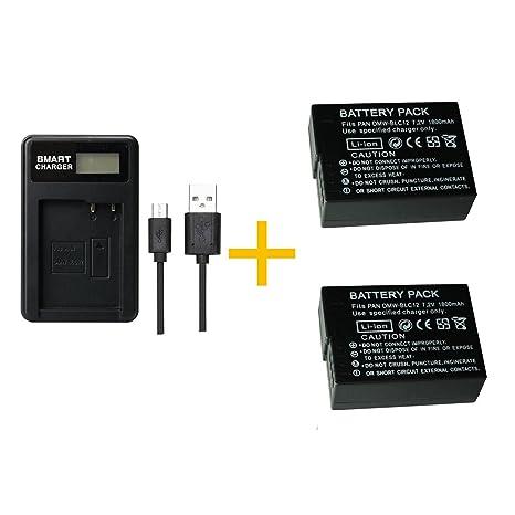2 piezas Batería PAN BLC12 DMW-BLC12 de 1800 mAh con cargador de batería LCD individual para Panasonic Lumix FZ1000, FZ200, FZ300, G5, G6, G7, GH2, ...