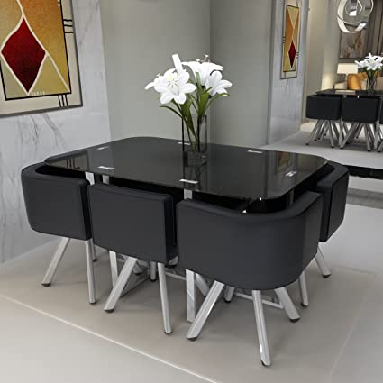 Peachy Panana Glass Table With 6 Pu Leather Chairs Set Round Camellatalisay Diy Chair Ideas Camellatalisaycom