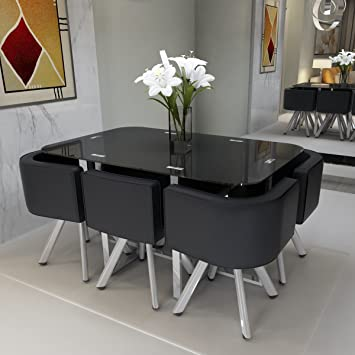 Feifeiyo Black Glass Dining Table Set Round 1 X Table And 6 X Chairs