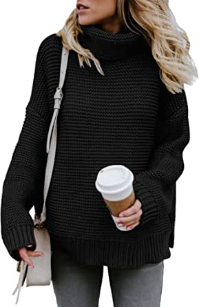 SMENG Chunky Turtleneck Sweater Women Long Sleeve Knit Pullover Jumper Tops