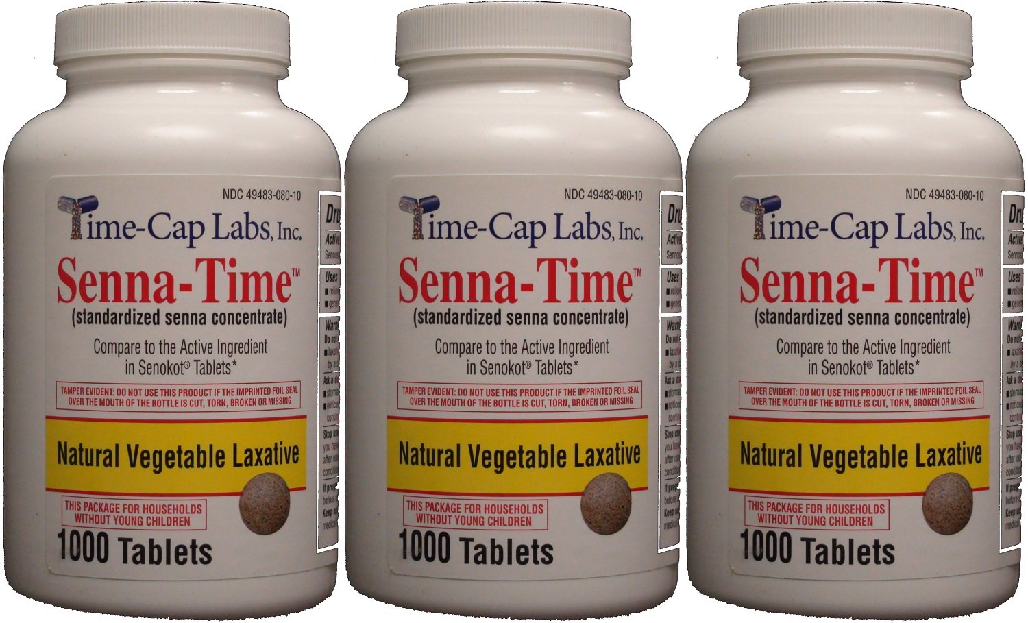 Senna-Time Generic for Senokot Natural Vegetable Laxative Senna 8.6 Mg 1000 Tablets per Bottle Pack Of 3 Bottles by Time Cap Labs