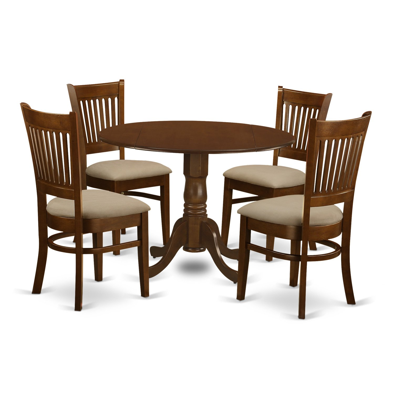East West Furniture DLVA5-ESP-C 5 Piece Set Dublin Dinette Table with Two Drop Leaf 9'' and Four Cushioned Seat Kitchen Chairs in Espresso by East West Furniture