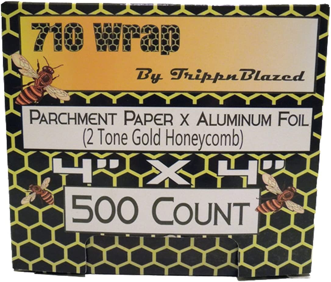 "710 Wrap- Aluminum Foil X Parchment Paper. 4""x4"" Precuts, 500 count box (Gold Honeycomb)"