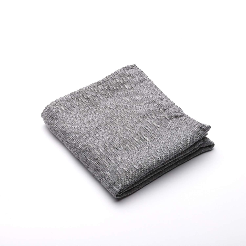 Linen Bath Towel Washed Waffle Graphite, 75 x 130 cm, Made in Europe, Bath Sheet, European Linen, Machine Washable, Super Absorbent