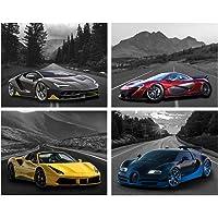 Black and White Forest Car Posters Lamborghini Mclaren Ferrari Bugatti Poster Car Wall Art Supercar Decor for Boys…
