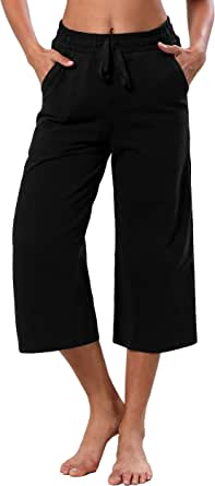 BUBBLELIME Women's Active Yoga Lounge Crop Capri Pants with Pockets Drawcord Running Workout Outdoor Sport