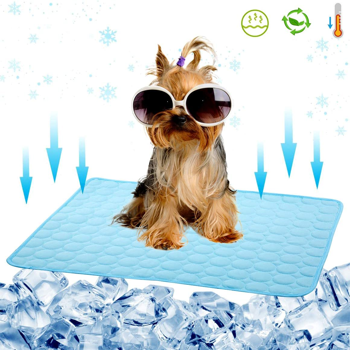 Gelma Dog Cooling Mat Pet Cooling Pad for Dog Cat Cooling Dog Mat Cooling Car Seat Cushion Summer Ice Silk Dog Cooling Bed