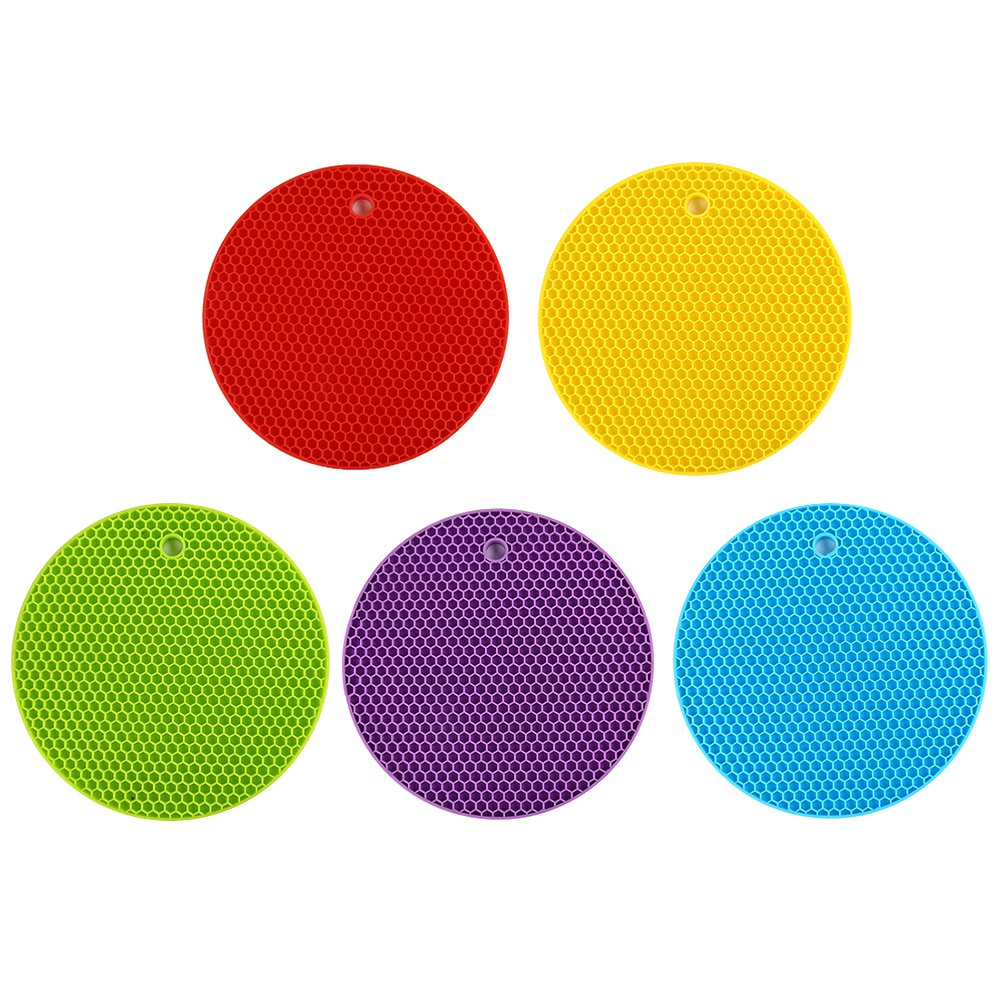 BESTONZON Round premium Silicone Hot Pads,Flexible Trivet Mat,Durable,Heat Resistant Bowl Saucepan Mat,Dishwasher Safe Kitchen Pads(Set of 5,Assorted Colors)