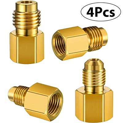 4 Pieces 6015 R134A Brass Refrigerant Tank Adapter to R12 Fitting Adapter 1/2 Female Acme to 1/4 Male Flare Adaptor Valve Core and 6014 Vacuum Pump Adapter 1/4 Inch Flare Female to 1/2 Inch Acme Male: Automotive