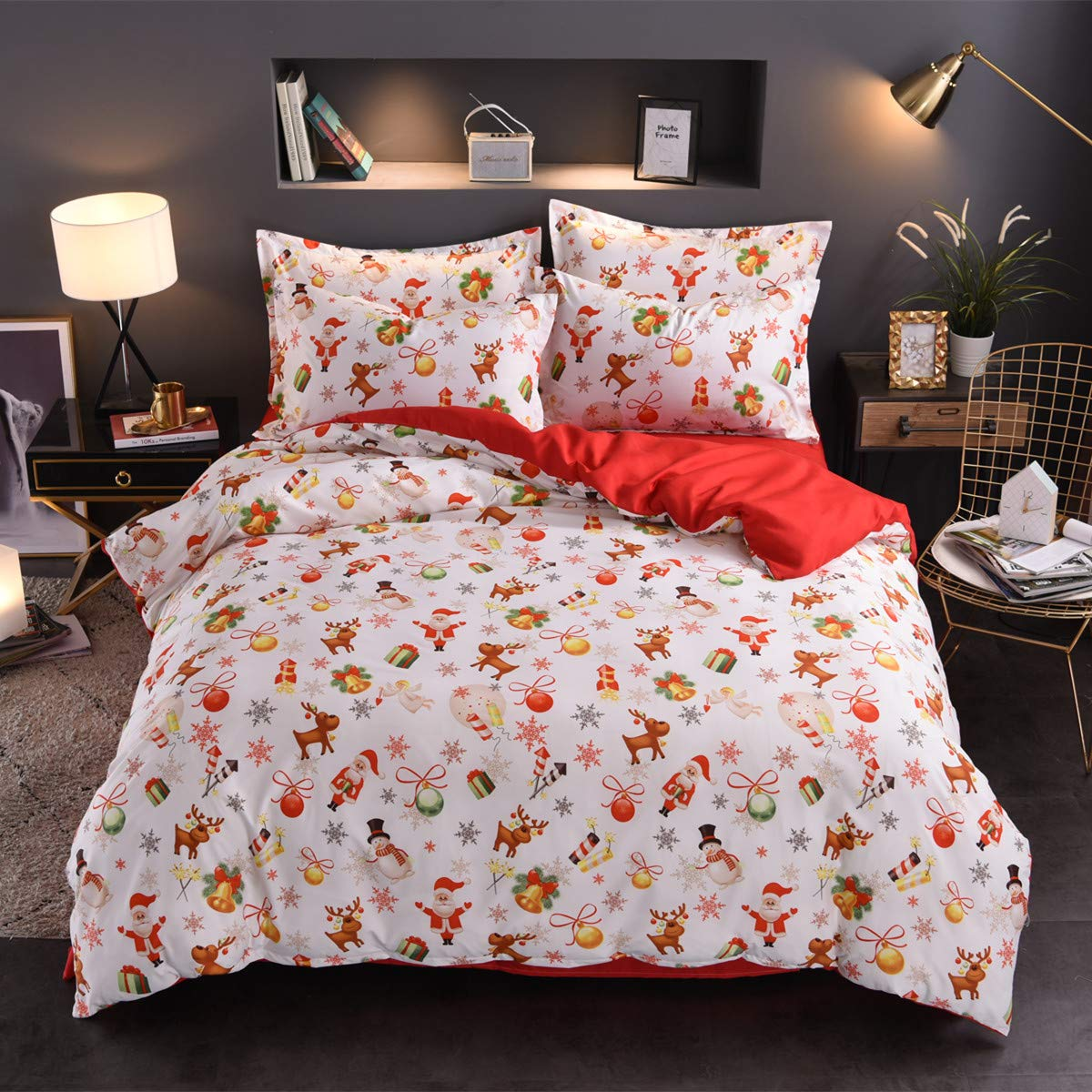 Argstar 2 Pcs Christmas Duvet Cover Twin Size, Satus Claus Deer Bell Present and Snowman Pattern Bedding Set