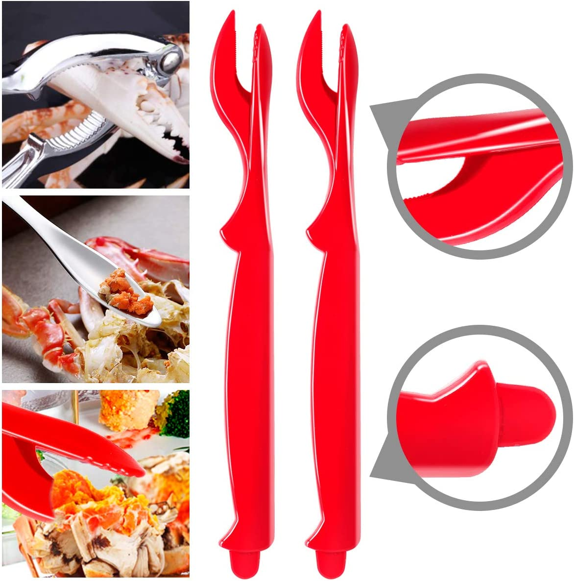 12 Pack Sturdy Crab Crackers and Tools Kit, Dishwasher Safe Seafood Tools Set, Crab Crackers, Lobster Shell Knife, Crab Leg Picks, Crab Bibs Disposable, Stainless Steel Nut Cracker Set, Kitchen Tools: Kitchen & Dining