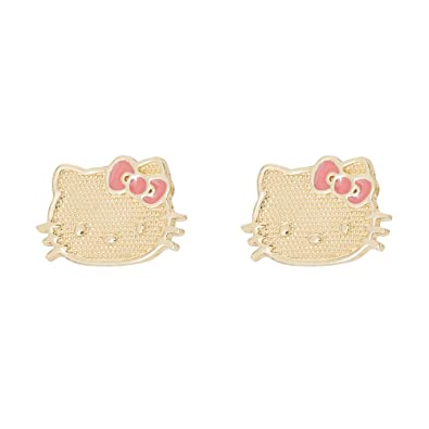 Hello Kitty 10k Yellow Gold With Pink Bow Stud Earrings Amazon Co