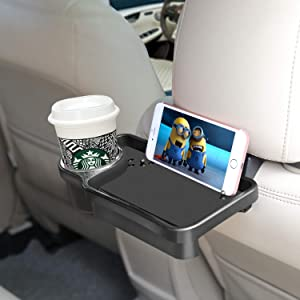 FAGUAN Car Headrest Cell Phone and Beverage Tray Organizer Multifunctional Beverage Cup Hand Plate Seat and Foldable.for Free Your Hands & Meet All Your Needs(Black)