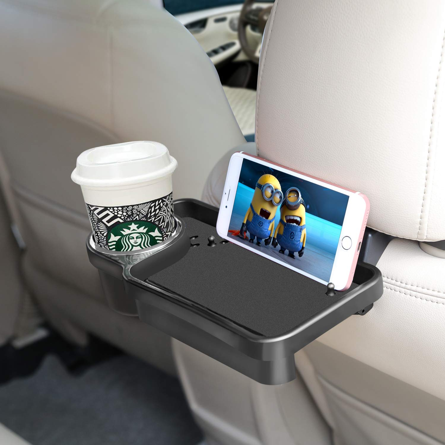 Faguan Car Headrest Cell Phone and Beverage Tray Organizer Multifunctional Beverage Cup Hand Plate Seat and Foldable.for Free Your Hands /& Meet All Your Needs.