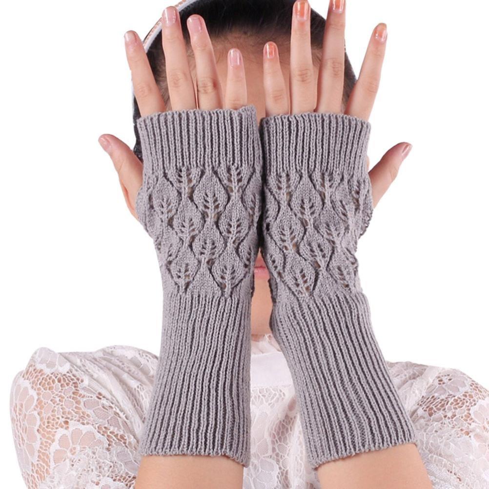 Sunward New Women Leaves Knitted Fingerless Gloves Arm Warmer Thumb Hole Mittens