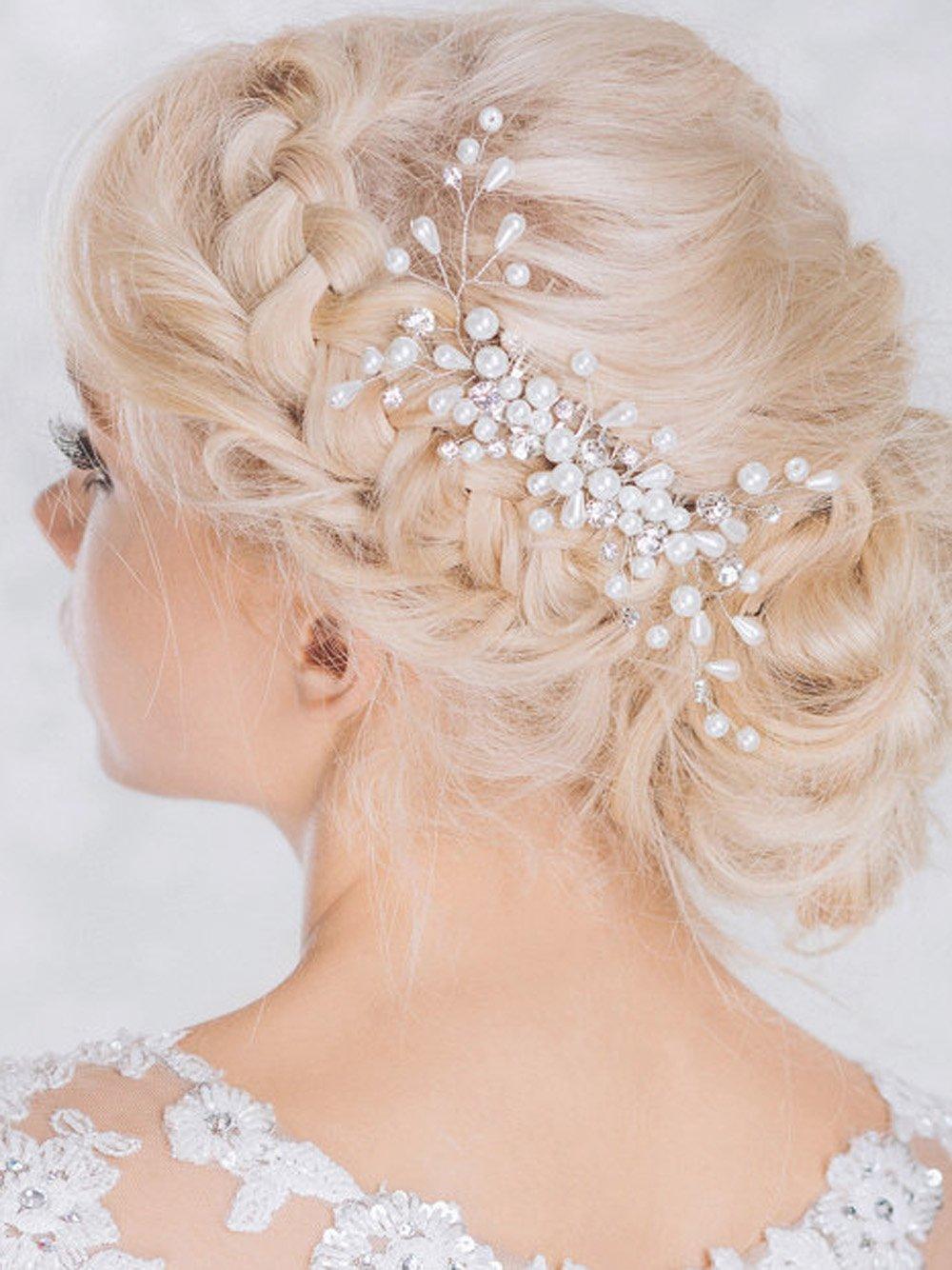 Yean Wedding Hair Combs, Bridal Hair Silver Comb for Bride and Bridesmaid