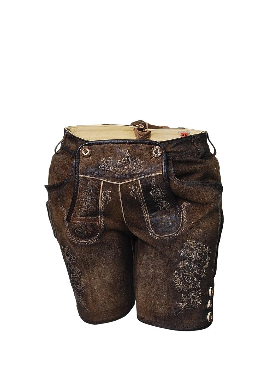 Kurze Damen Lederhose braun, Ledershorts, Lederbermuda, antik Look, echtes Leder