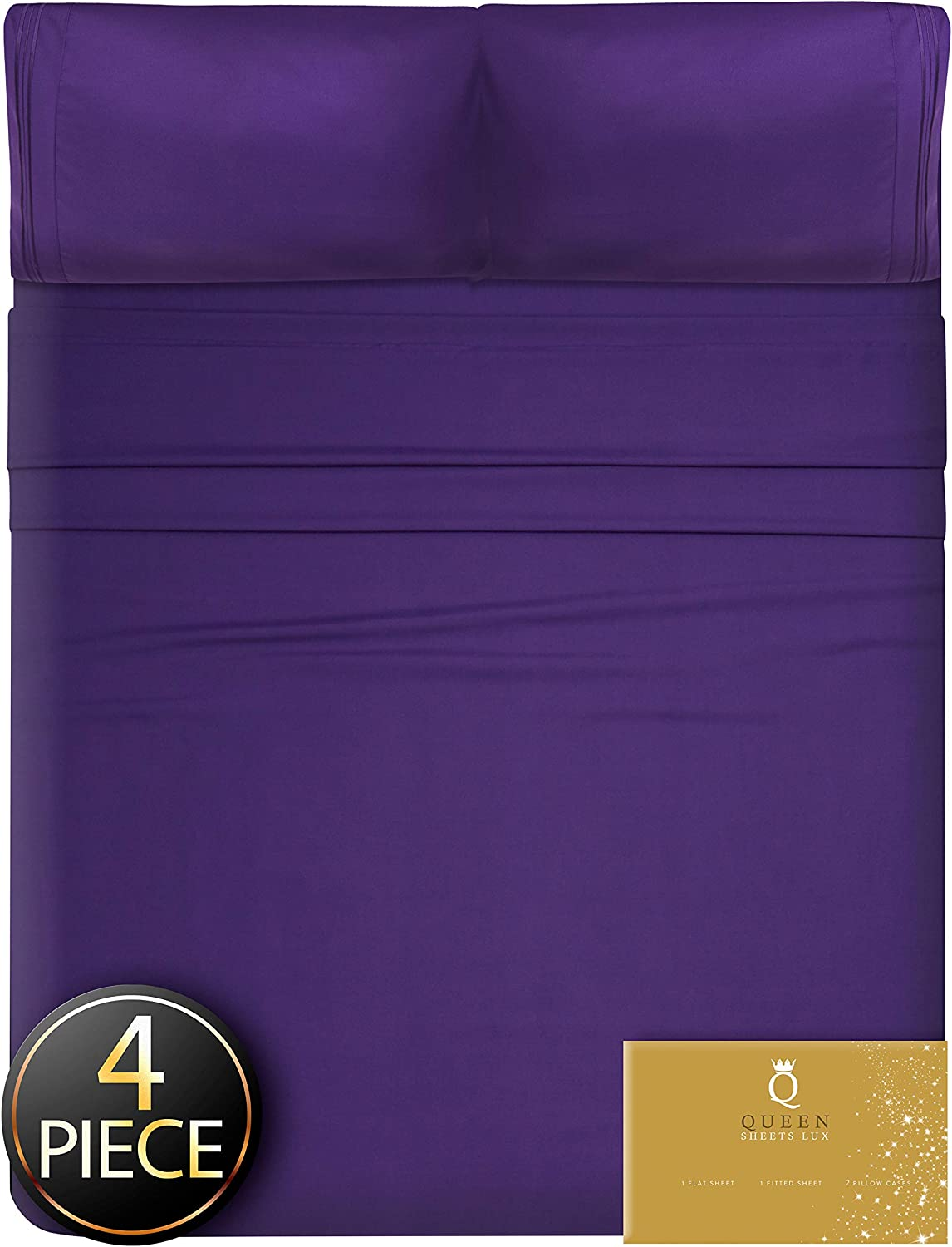 Twin Sheets Twin Size 4 pcs - Twin Bed Sheets Set Twin Sheet Set Twin Bedding Sets Twin Size Sheets Twin Fitted Sheet Twin Sheets Sets Deep Pocket Twin Sheet Sets Twin Flat Sheet Purple