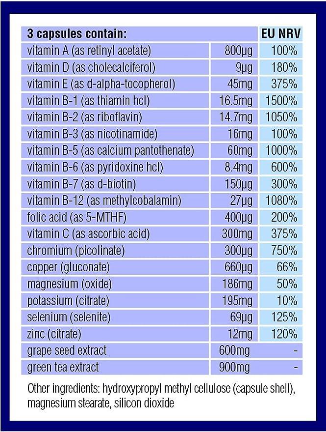 Optimas para la Atkins, Cetogénica y dietas similares bajas en carbohidratos. Extra fuerte, sin hierro, sin azúcar, cero carbohidratos. 90 cápsulas.