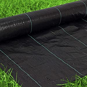 Premium Landscape Fabric Heavy Duty 4x50 Ft 3.2oz/108gsm Black - Woven Weed Barrier Landscape Fabric - Garden Fabric Roll - Weedblock for Garden, Flower Bed, Driveway, Drainage and Weed Prevention