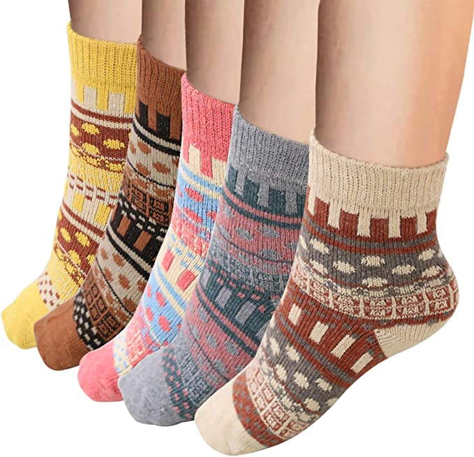 6 Pairs Womens Casual Socks Vimpro Winter Soft Vintage Style Knitting Wool Warm Winter Crew Socks