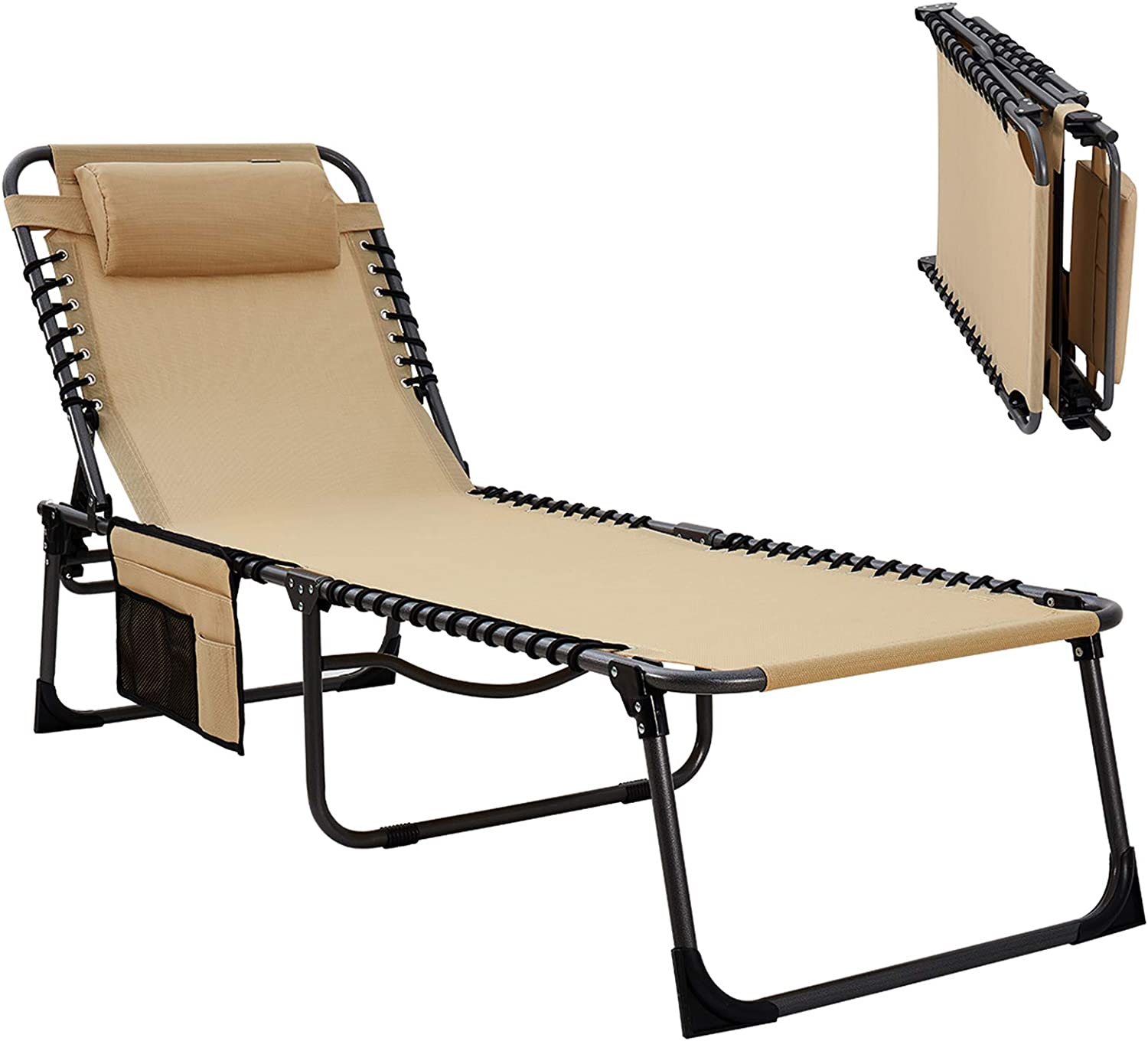 KingCamp Adjustable 4-Position Patio Chaise Lounge Chair Heavy Duty Outdoor Camping Recliner Folding Cot with Pillow Pocket for Garden Yard Lawn Sunbathing Beach Pool, Supports 265 lbs