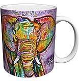 Dean Russo Elephant Modern Animal Art Porcelain Gift Coffee (Tea, Cocoa) Mug, 11 Ounce