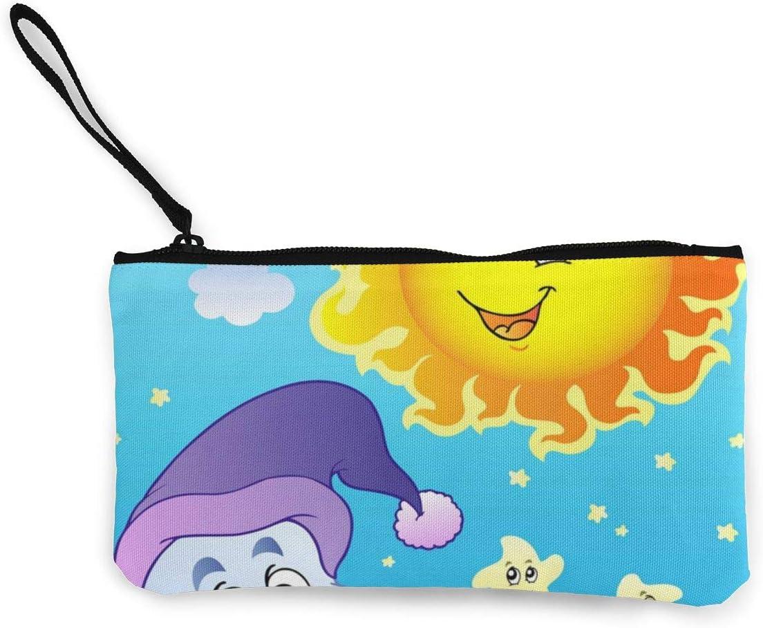 Bearget Sky con Sol y Luna, Bonito Estuche de Lona para Cambiar Monedas, con Cremallera, para Mujeres, niñas: Amazon.es: Hogar